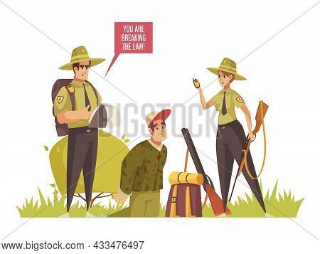 Cartoon Composition With Two Forest Rangers Catching Hunter Vector Illustration