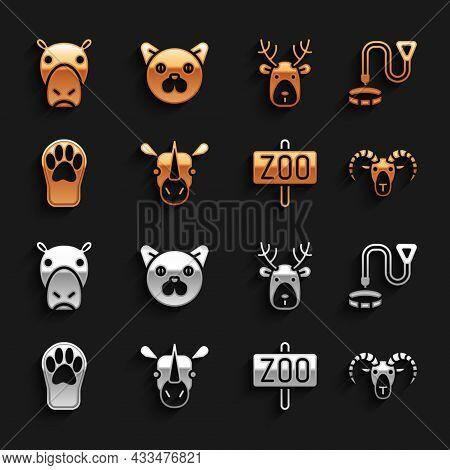Set Rhinoceros, Collar With Name Tag, Head Of Goat Or Ram, Zoo Park, Paw Print, Deer Head Antlers, H