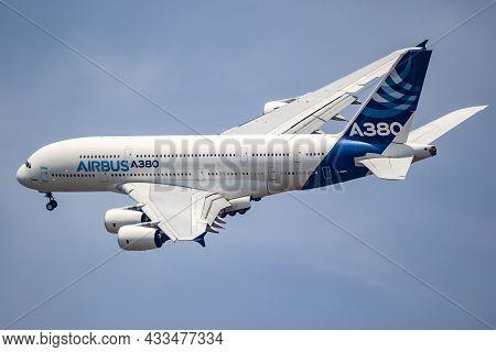 Airbus A380 Double-decker Passenger Plane In Flight During The Paris Air Show. France - June 22, 201