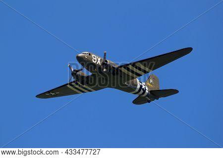 Vintage World War Ii Warbird Douglas C-47 Dakota Skytrain Transport Plane In Flight During D-day 75