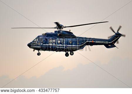 German Federal Police (bundespolizei) Eurocopter As332 Super Puma Helicopter In Flight. Germany - Ju