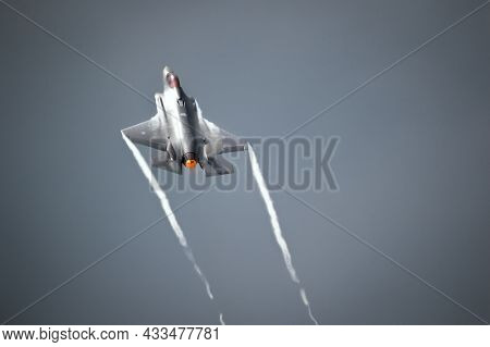 Lockheed Martin F-35 Lightning Ii Stealth Fighter Jet Steep Afterbunrer Take Off From Volkel Airbase