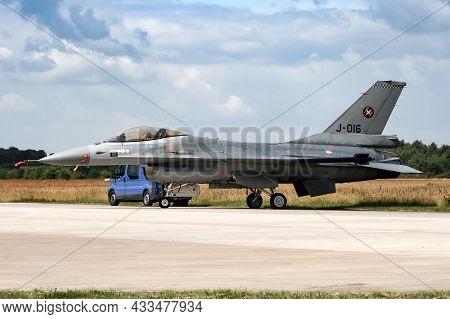 Royal Netherlands Air Force F-16 Fighter Jet At Volkel Air Base. The Netherlands - June 20, 2009
