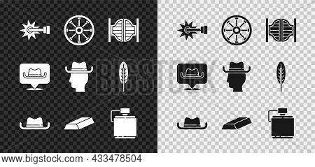 Set Spur, Old Wooden Wheel, Saloon Door, Western Cowboy Hat, Gold Bars, Canteen Water Bottle, Locati
