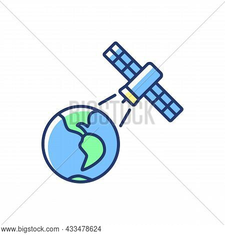 Earth Observation Process Blue Rgb Color Icon. Terrestial Surface Investigation By Artifial Satelite