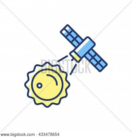 Sun Observation Process Yellow Rgb Color Icon. Heliophysics Science Investigation By Artifial Sateli