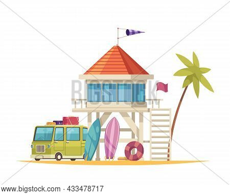 Cartoon Icon With Lifeguard House And Touristic Bus On White Background Vector Illustration