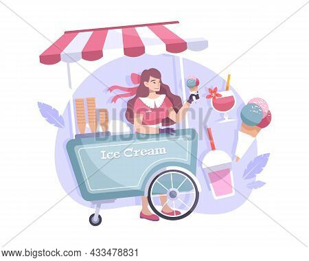 Stall With Ice Cream Cold Drinks And Smiling Seller Flat Composition Vector Illustration