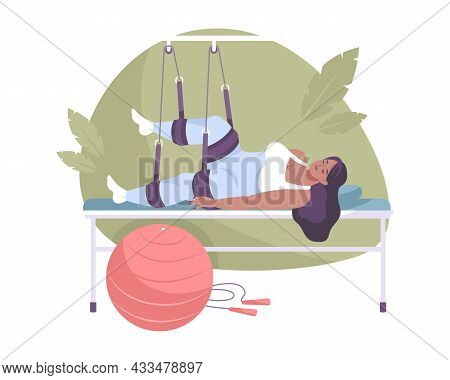 Woman With Leg Bone Fracture In Hospital Flat Composition Vector Illustration