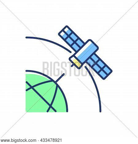 Polar Satellite Blue, Green Rgb Color Icon. Artifial Satelite Investigating Pole Surface, Magnetosph