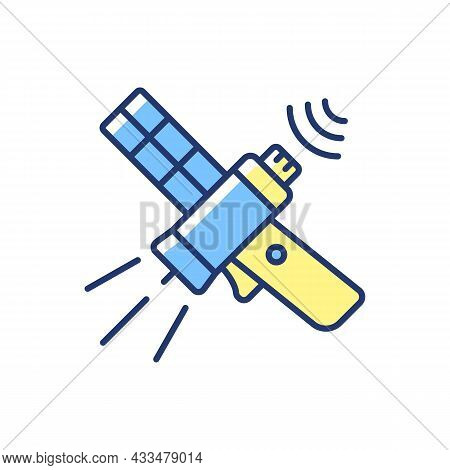 Communications Satellite Blue, Yellow Rgb Color Icon. Communications Network. Transmiting Signal Sat