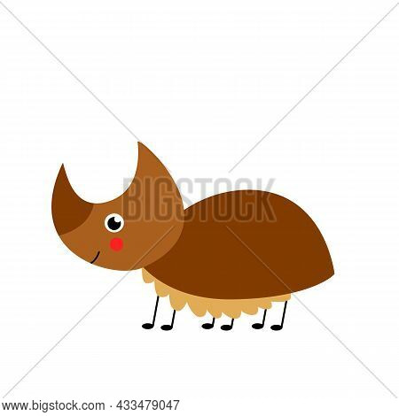 Vector Picture Of Cute Rhinoceros Beetle Isolated On White Background. Simple Illustration.
