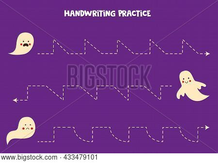 Tracing Lines For Kids With Cute Ghosts On Purple Background. Handwriting Practice.