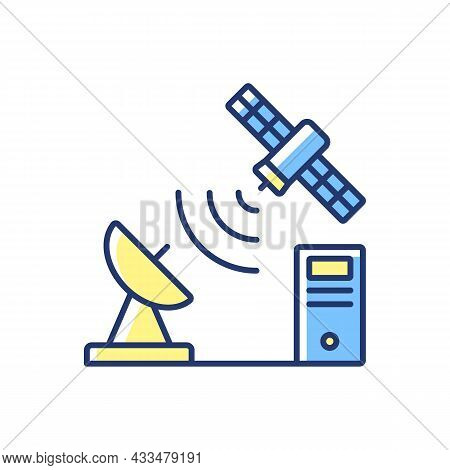 Tcp Over Satellite Blue, Yellow Rgb Color Icon. Transmission Control Protocol. Telecommunications Ne