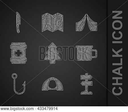 Set Forest, Tourist Tent, Road Traffic Signpost, Camping Metal Mug, Fishing Hook, First Aid Kit, And