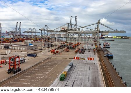 Shipping Container Terminal In The Port Of Rotterdam, The Netherlands, September 6, 2015