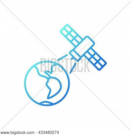 Earth Observation Process Gradient Linear Vector Icon. Terrestial Surface Investigation By Artifial