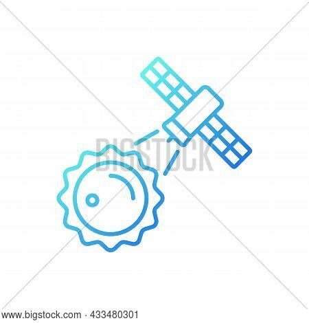 Sun Observation Process Gradient Linear Vector Icon. Heliophysics Science Investigation By Artifial