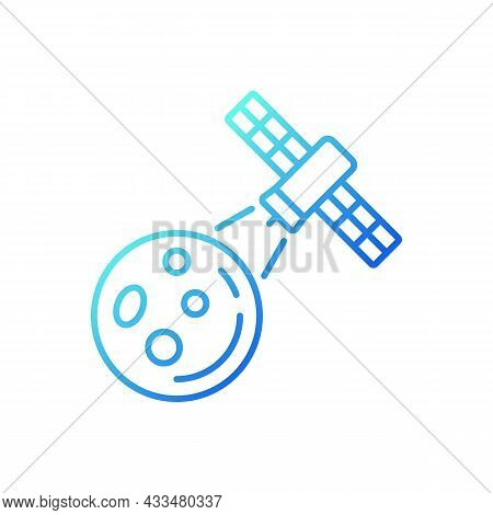 Moon Observation Process Gradient Linear Vector Icon. Lunar Surface Research Mission By Artifial Sat