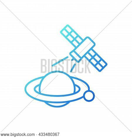 Planets Observation Process Gradient Linear Vector Icon. Capturing Planetary Anomalies By Artifial S