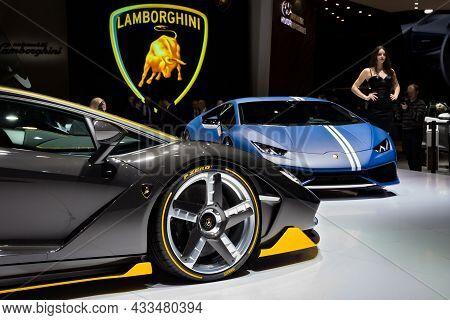 Lamborghini Sports Cars Showcased At The Geneva International Motor Show. Switzerland - March 1, 201