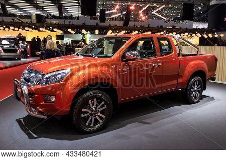 Isuzu D Max Solar Pick-up Truck Showcased At The Geneva International Motor Show. Switzerland - Marc