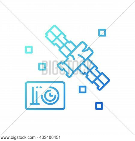 Satellite Condition Gradient Linear Vector Icon. Artifial Satelite Breakdown. Satellite Status Infor