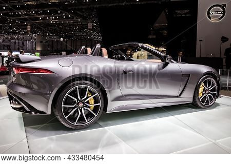 Jaguar F-type Svr Convertible Sports Car Showcased At The Geneva International Motor Show. Switzerla