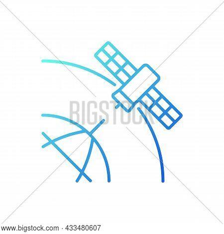 Polar Satellite Gradient Linear Vector Icon. Artifial Satelite Investigating Pole Surface, Magnetosp