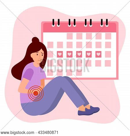Woman Having Period Pain Concept Vector Illustration. Menstrual Cycle Calendar.