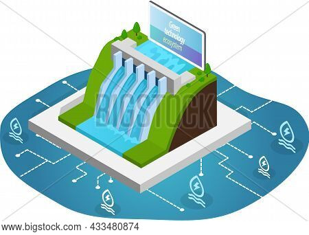 Hydroelectricity Power Station For Alternative Energy Concept. Dam With Water For Electricity Produc