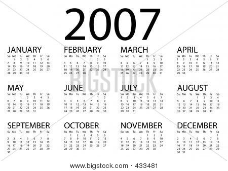 2007 Calendar Simple H