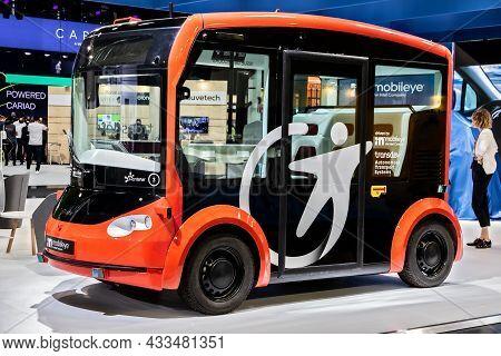 Transdev Mobileye Autonomous Driving Shuttle Bus Showcased At The Iaa Mobility 2021 Motor Show In Mu