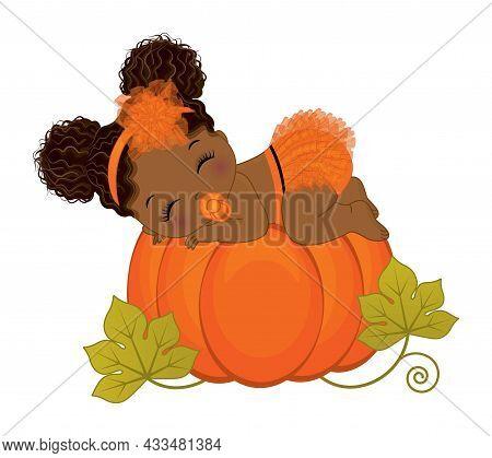 Cute Little Black Baby Girl Wearing Orange Ruffled Diaper And Floral Headband Sleeping On Pumpkin. A