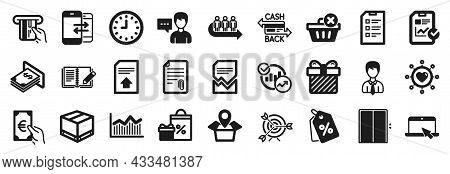 Set Of Simple Icons, Such As Portable Computer, Discount Tags, Finance Icons. Surprise, Person Talk,