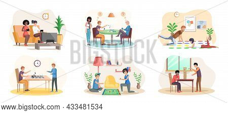 Board Games Family Set. Parents With Kids Sitting At Table And Playing Tabletop Games. Spend Time To