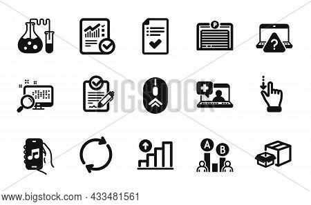 Vector Set Of Ab Testing, Touchscreen Gesture And Medical Help Icons Simple Set. Music App, Full Rot