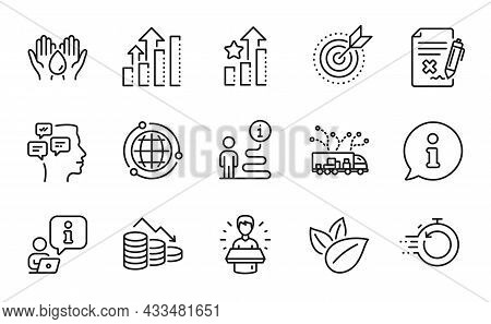 Technology Icons Set. Included Icon As Messages, Ranking Stars, Analysis Graph Signs. Target Purpose