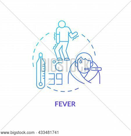 Fever Blue Gradient Concept Icon. High Temperature And Sweating Lead To Water Loss. Flu Chills. Dehy