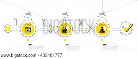 Trade Infographic Timeline With 3 Steps. Shopping Process Diagram With Trade Store, Money Bag, Shopp