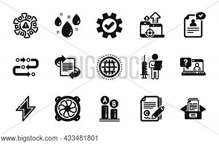 Vector Set Of Ab Testing, Energy And Globe Icons Simple Set. Computer Fan, Copywriting And Marketing