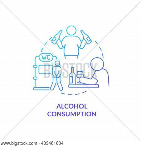 Alcohol Consumption Blue Gradient Concept Icon. Spirits Consumption Leads To Water Loss. Intoxicatio