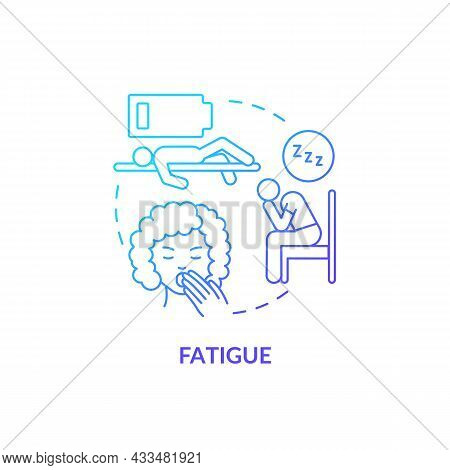 Fatigue Blue Gradient Concept Icon. Fluid And Electrolytes Loss Can Cause Fatigue. Low Energy And We
