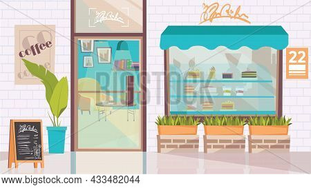 Coffee Shop Exterior Concept In Flat Cartoon Design. Showcase With Desserts, Menu And Plants, Glass