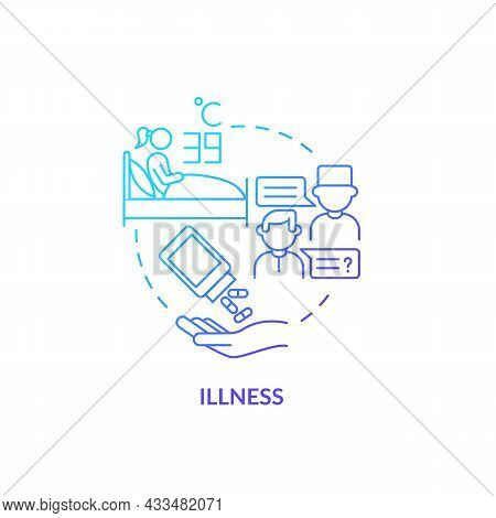 Illness Blue Gradient Concept Icon. Extra Water Consumption Is Required. Infection And Flu Dehydrati