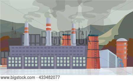 Industrial Factory Exterior Concept In Flat Cartoon Design. Plant Building With Pipes, Toxic Emissio