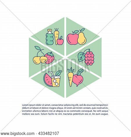 Healthy Food Concept Line Icons With Text. Ppt Page Vector Template With Copy Space. Brochure, Magaz