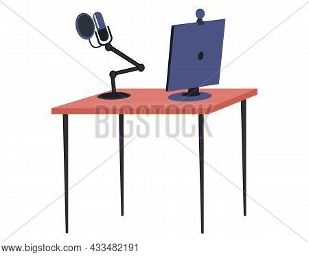 Podcast Flat Vector Template Computer And Microphone. Online Show, Blogging, Radio Broadcasting, Pod