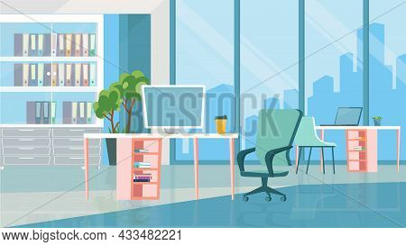 Open Office Room Interior Concept In Flat Cartoon Design. Workplaces With Computers, Tables And Chai