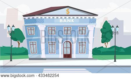 Bank Building Exterior Concept In Flat Cartoon Design. Financial Office At Column Building In Classi